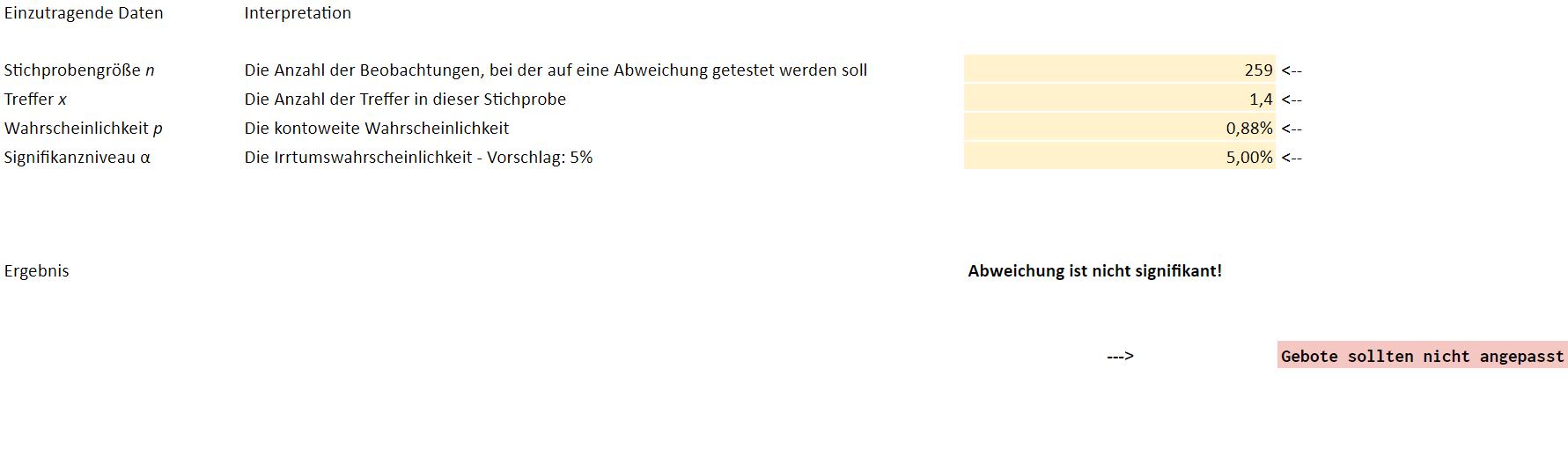 Screenshot des Excel Sheets zur Signifikanztest der Stichproben