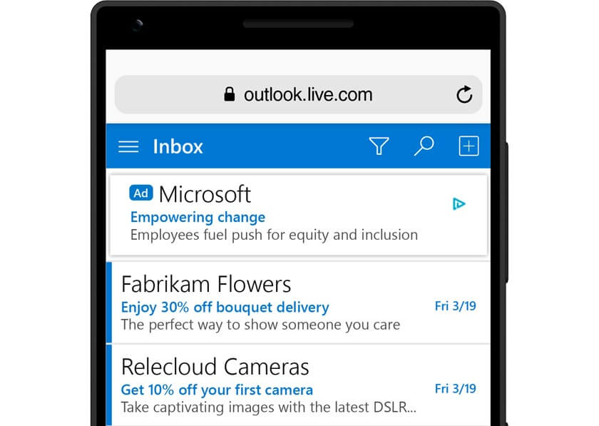 Microsoft Advertising Audience Network Textanzeige im Outlook E-Mail Feed