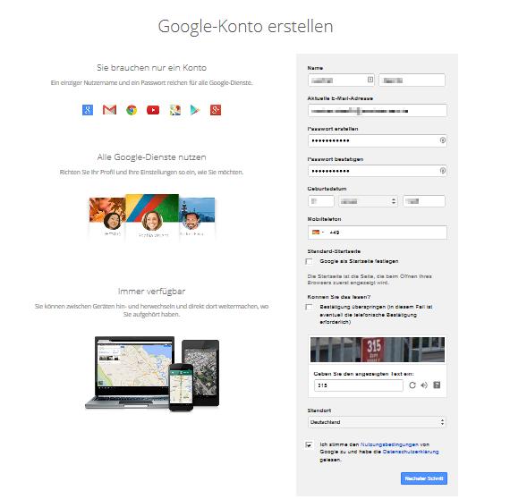 Google Konto erstellen; Quelle: Google