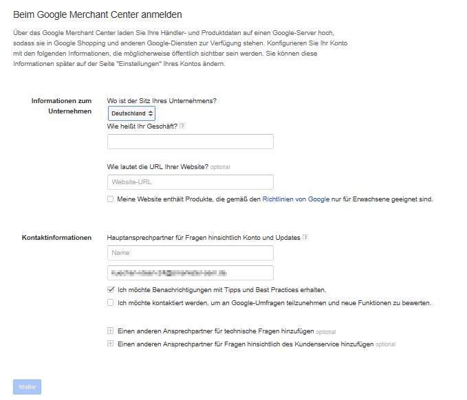 Merchant Center Anmeldung; Quelle: Google