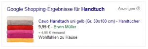 Google Shopping Anzeige © Google - Stand: 11.09.2014