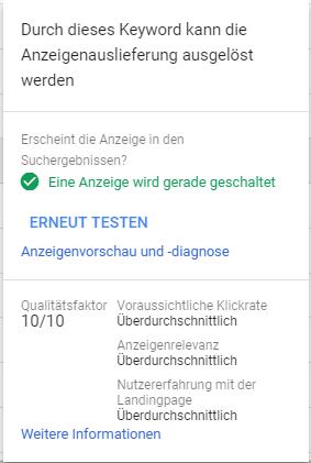 Status und Qualitätsfaktor eines Keywords im Google Ads Interface
