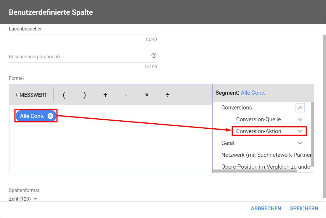 Erstellen einer benutzerdefinierten Spalte für Messwerte im AdWords Konto um Offline-Conversions und Ladenbesuche zu messen